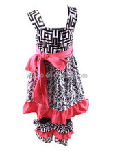 Fancy Wholesale Girls Cotton Suit Childrens Boutique Damask Dress And Casual Ruffle Pant Wholesale Clothing Lots