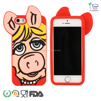 3D cute pig silicone cell phone cases