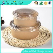 wholesale food kraft paper sushi boxes / salad round box with lids