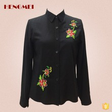 Newest style pure black casual shirt model fashion fancy cotton blouse casual design for Office lady