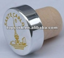 plated aluminium cap bottle stopper TBE19.7-30.8-20-10.6(silver&yellow logo)