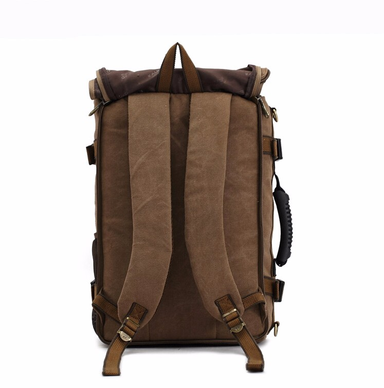 Three uses Multi-functional canvas travel bag , canvas tote bag with long shoulder strap , canvas backpack with hidden straps