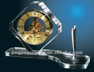 k9 Crystal Glass table clock with pen holder for promotion Gift
