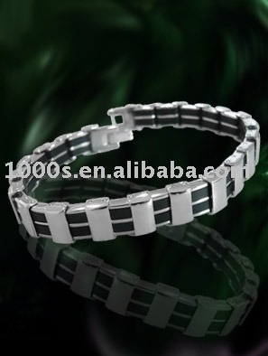 stainless steel bracelet with rubber