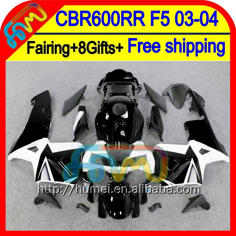 8Gifts For HONDA Injection Black white CBR600RR 03-04 50HM17 CBR600 RR F5 CBR 600RR Black white 600 RR 03 04 2003 2004 Fairing