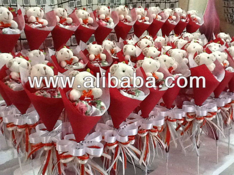 Red Teddy Bear Bouquet Party Gifts 6cmx30cm