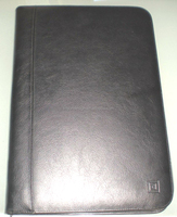 A4 zippered leather file card holder folder portfolio with pen pad