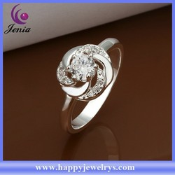 Bling white zircon ring 925 silver plated cheap price engagement ring price (CR336)