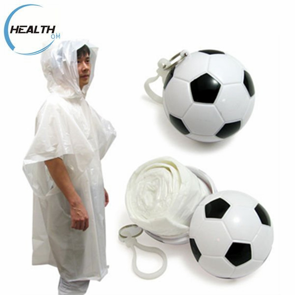 Football Disposable PE raincoat poncho in plastic soccers ball