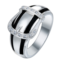 Latest Zircon Latest Leather Belt Shaped Ring without stones ring silver plated ladies design