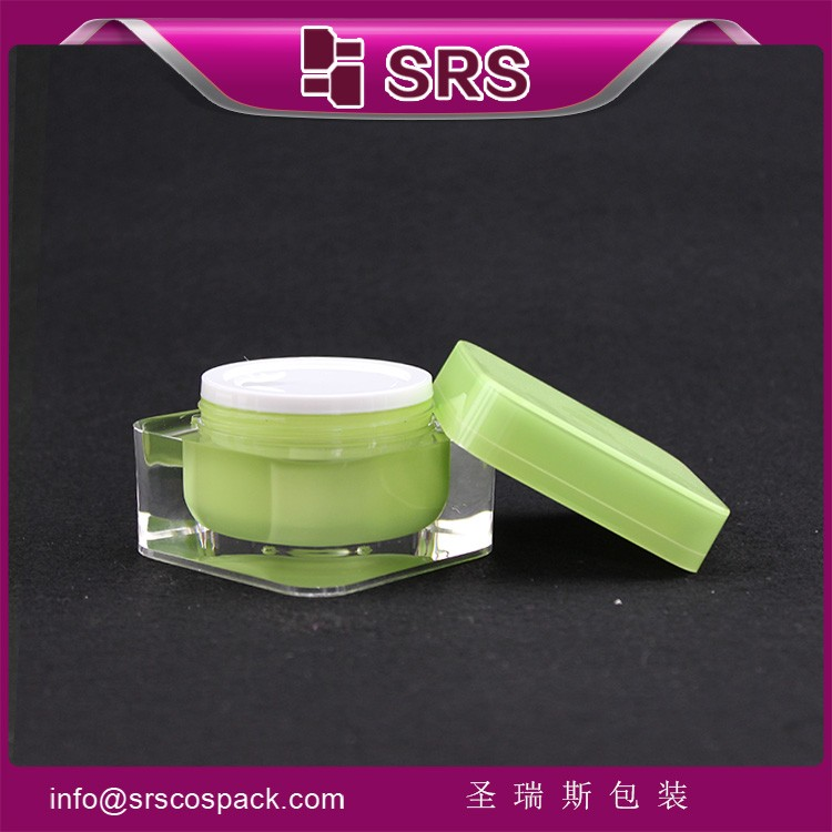 Green Color Plastic Square Cosmetic Acrylic Jars for Skincare