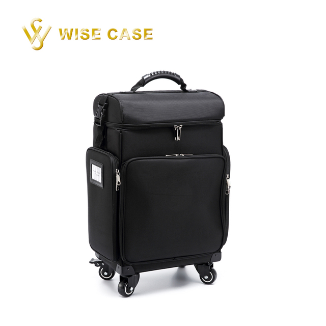 Nylon Pro Artist Rolling Wheeled Trolley Makeup Train Case Cosmetic Rolling Makeup Case with Pouches in Black