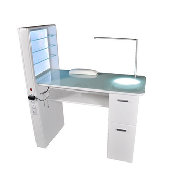 White color professional nail desk luxury glass top manicure table nail station with uv lamp