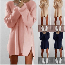 Woman new style leisure loose zipper sweater dress winter dress