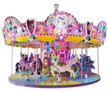 HOT Sale Acctractive Shopping Malls Kids Merry Go Round with Cartoon Pony Style