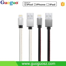 Colorful MFI leather wrapped 1M USB data cable for power bank for smartphone hot in the world
