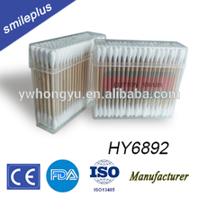 HY6892 Separated Rectangle Small Flat Plastic Box Bamboo or Wooden Cotton Swab