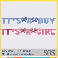 Baby shower supplies it's a boy & it's a girl foil letter banner