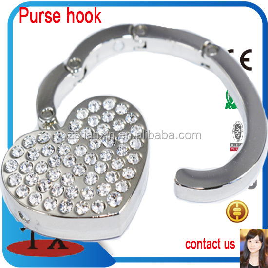 Heart Shape Folded Purse Hook Hanger For Tables With Diamond