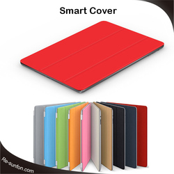 Red color smart cover for ipad 2 3 4, Original 4 folding leather flip for ipad 2 3 4 smart cover