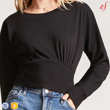 New Lady Clothing Round Neck Long Sleeve Shirred Banded Waist Ladies Cotton Tops And Blouse Design
