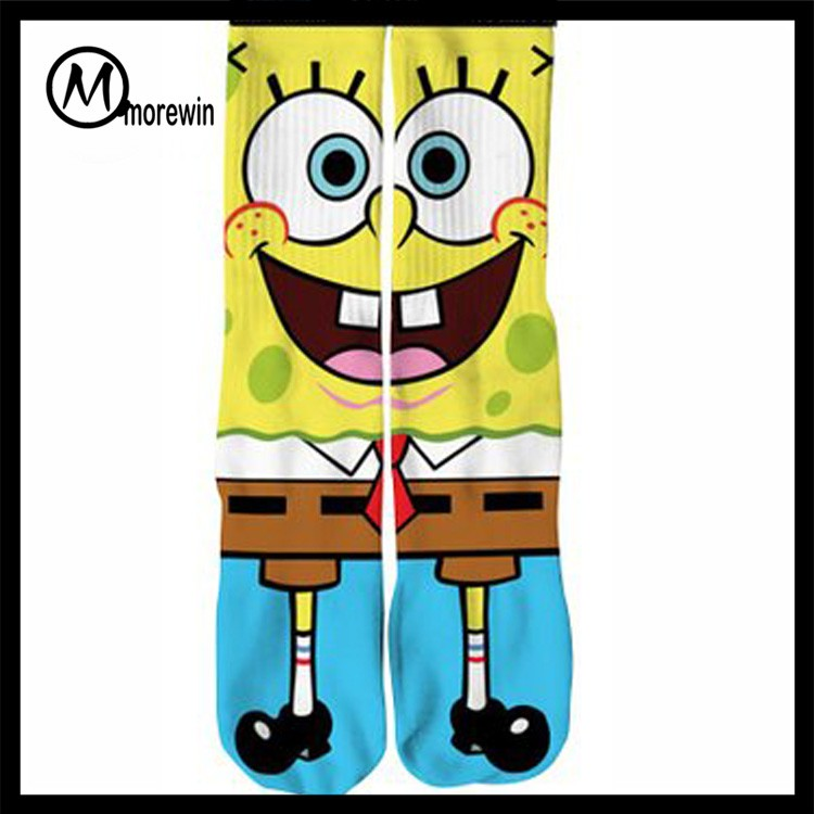 Morewin Custom Spongebob Cartoon 3D Sublimation Printing socks