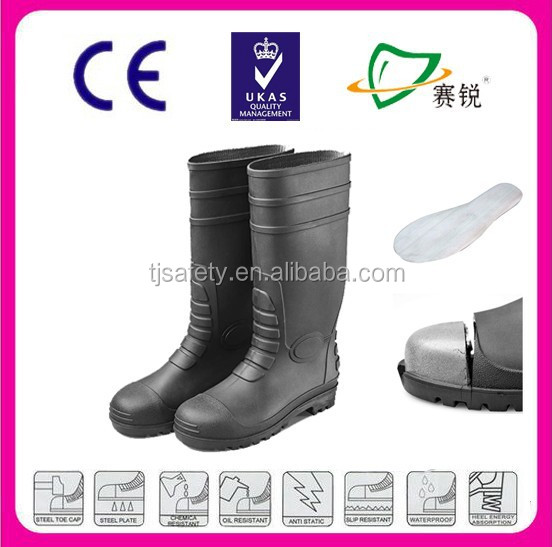 High quality women clear rubber rain boots with steel toe