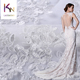 2018 white 3D embroidery wedding gown bridal glitter fabric crystals tulle for wedding dress