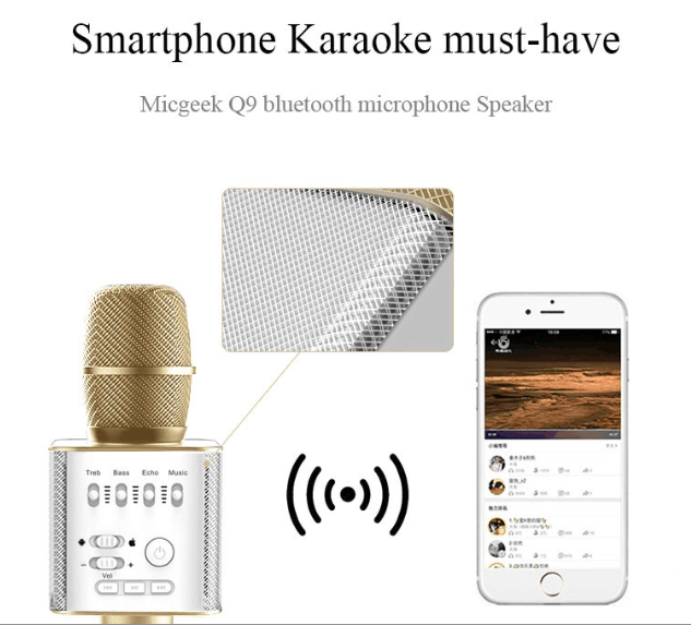 2016 Most Popular Bluetooth speaker karaoke microphone Q9 for smart phone