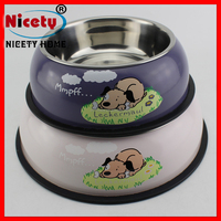 Cartoon Print Color Stainless Steel Dog Cat Bowls with Anti-Slip Pet Feeder