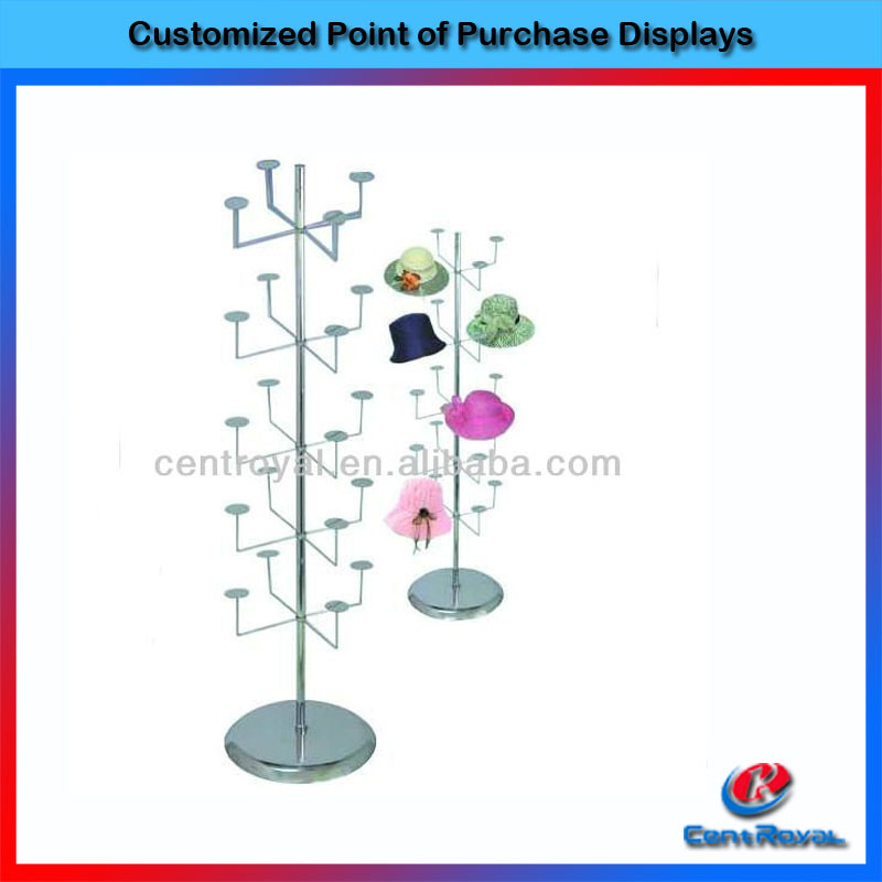 2016 Tree shape design metal hat display rack for retail store