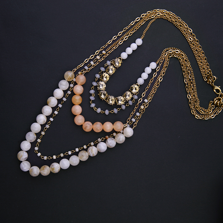CN73514 fashion jewelry gold long chain multilayer handmade bead necklace fashionable jewellery designs