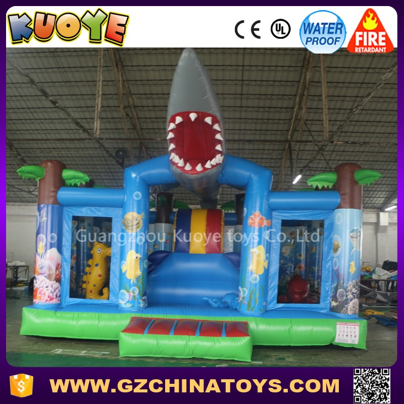 2017 china shark inflatable farm bounce house toboggan slide