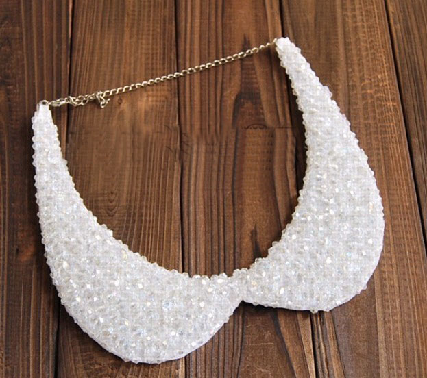 Fashion white beaded choker collar necklace fake collar women 's clothing accessories