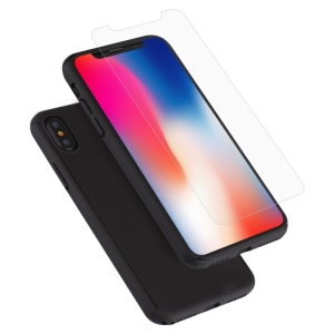 dropshipping cheap price For iPhone X 360 Degree Full Coverage Detachable PC Protective Cover Case with Tempered Glass Film