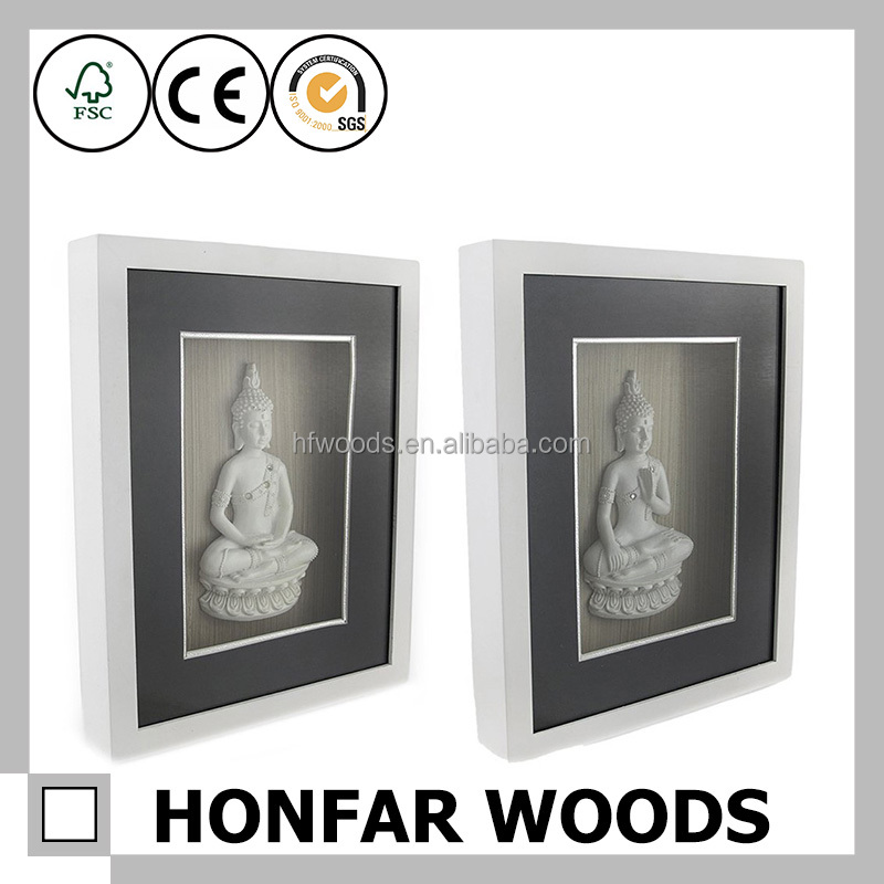 Chinese style Buddha solid wood shadow box frame deep box frame
