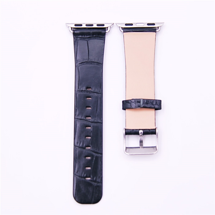 High Quality Embossed Crocodile Alligator for Apple Watch Leather Band OEM ODM_1