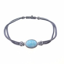 Natural Larimar Gemstone Bracelet 925 Sterling Silver Jewelry Supplier Handmade Silver Larimar Jewellery DR030777B-13.18g