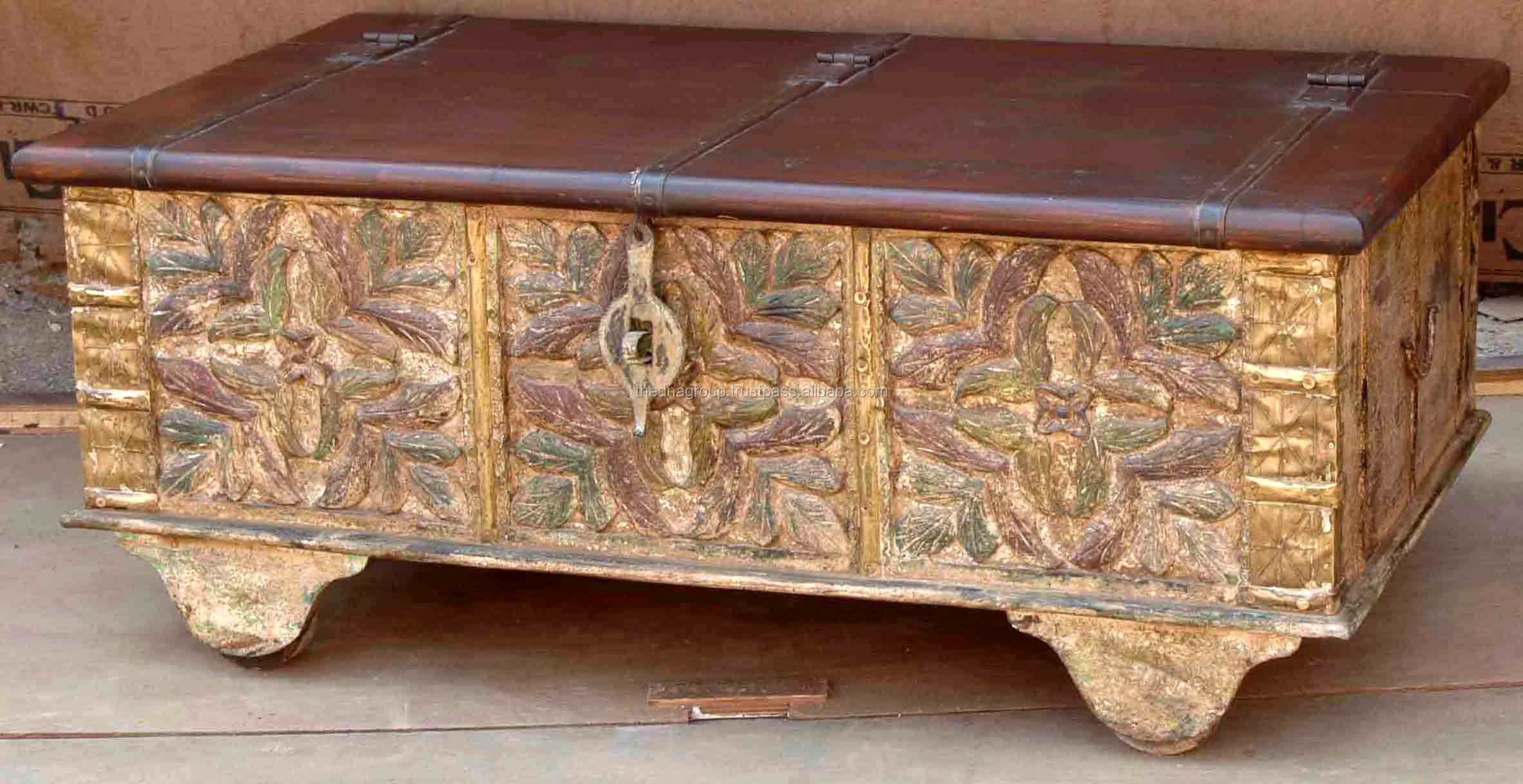 Antique Handmade Wooden Carved Trunks