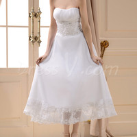 Charming A Line Strapless Chiffon Beach Tea Length Wedding Dress Patterns