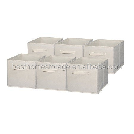 Foldable Nonwoven polypropylene Storage Cube Basket Bins Organizer Containers Drawers, 6 Pack, Beige