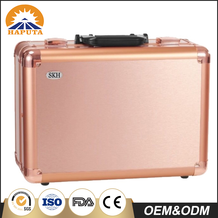 New arrival Aluminium rose gold professional makeup case with lighted mirror
