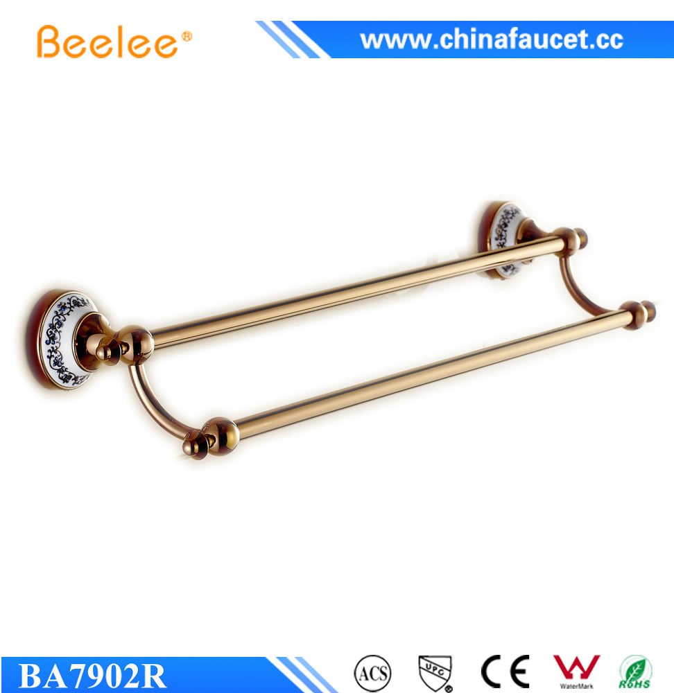 Beelee BL7902R Wall Mounted Bathroom Accessories Ceramic Copper Brass Double Towel Bar Rose Gold Towel Holder Rail