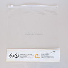 PE plastic clothes packaging transparent zipper bags