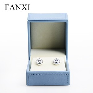 FANXI Luxury Blue Leather Jewelry Storage Earrings Holder Gift Boxes Lovers Present Packaging Case Leather Jewelry Box