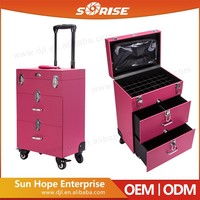 Sunrise PVC professional makeup trolley case rolling beauty nail case on wheel with drawers