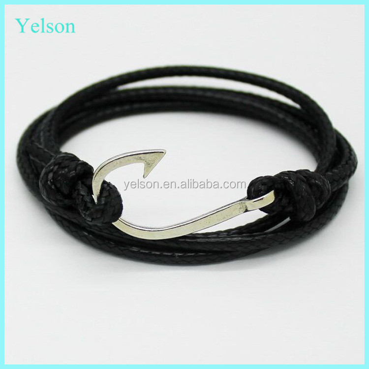Charming multi layer leather anchor hook bracelet, fashion man bracelet anchor with zinc alloy