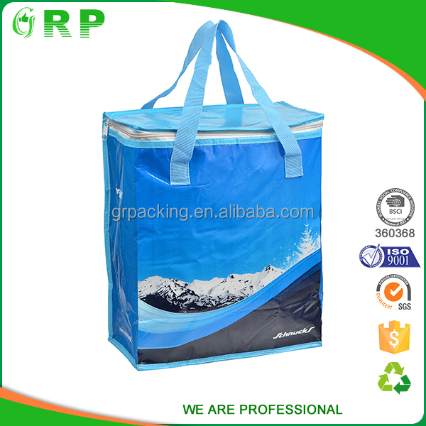 Large capacity picnic lunch pp woven wholesale thermal insulated cooler bags