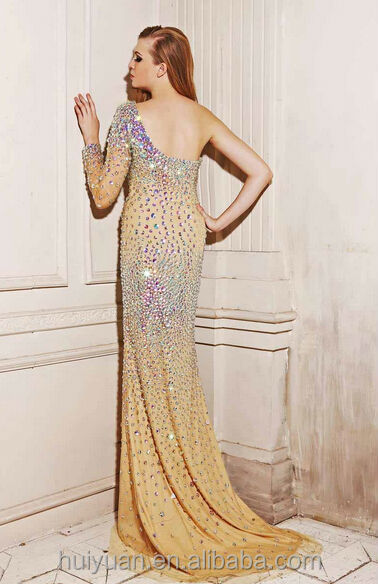 tulle one shoulder beaded long evening dress 2015