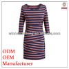 lady/girl summer casual 3/4 sleeve red/navy stripe bodycon knit dress